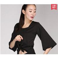 新款瑜伽服舞韵飘逸运动舒适单件中长袖上衣无胸垫 可礼品卡支付