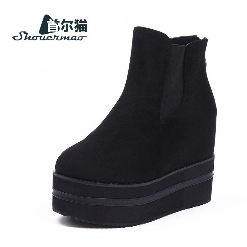 内增高短靴女松糕底女鞋冬季坡跟厚底高跟马丁靴女靴秋冬加绒单靴 黑色 39