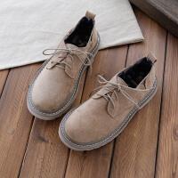 春季欧美磨砂绒面复古马丁鞋浅口低帮浅口系带厚底单鞋女