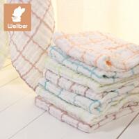 威尔贝鲁 婴儿毛巾手帕口水巾 新生儿纱布洗脸巾 宝宝纯棉小方巾