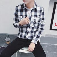 衬衫男长袖 宽松 韩版 学生 小清新外套男 字母印花打底衬衣翻领