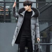 2017新款冬季连帽大毛领中长款韩版修身青年加厚羽绒服男装外套潮