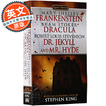 英文原版小说 弗兰肯斯坦 吸血鬼伯爵德古拉 化身博士 科学怪人 Frankenstein; Dracula; Dr Jekyll and Mr Hyde 科幻名著 Signet 简装 原版进口 放心订购