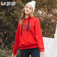 Lagogo/拉谷谷2019冬季新款连帽撞色字母印花卫衣女ICEE41ZC02