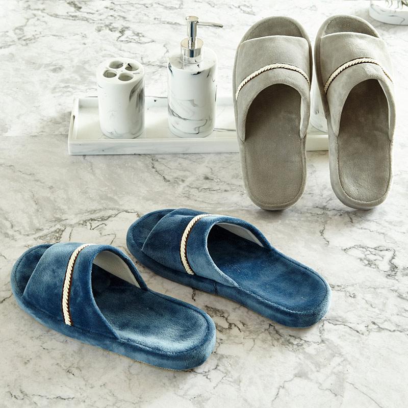 贝赛亚 居家休闲水晶绒拖鞋