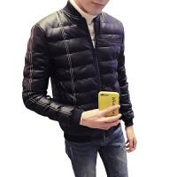 棉衣男冬季韩版潮流休闲外套修身pu皮衣加厚保暖棉服冬装大码