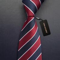 新男士正装领带新款结婚领带男士工作上班正装商务礼盒装条纹色织酒红色 图片色