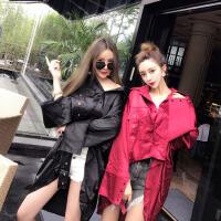 2017冬装新款时尚韩国长袖反光丝前短后长刺绣开衫风衣衬衫上衣女