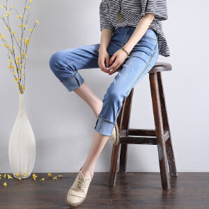 Modern idea2017夏季新款潮流牛仔裤女九分裤直筒宽松裤子