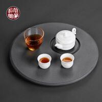 乌金石干泡台茶盘禅意天然石材圆形茶海家用小号简约创意