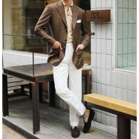 衬衫男学生春 定制款欧美男士高腰小直筒巴黎扣西裤 白色羊毛九分西装裤 (30%羊毛)269元