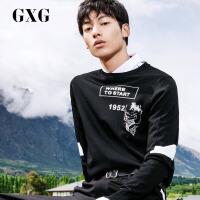 【GXG过年不打烊】GXG男装 春季男士时尚青年毛衣印花黑色圆领针织衫套头衫
