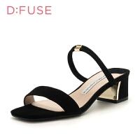 迪芙斯(D:FUSE)女鞋 专柜同款羊皮革粗跟时尚休闲凉鞋 DF82115331 黑色