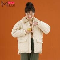 蜜妃儿羊羔毛棉服女小个子棉袄2019年新款韩版宽松短款厚棉衣外套
