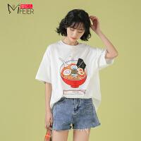 蜜妃儿ins超火纯棉短袖女2020年新款日系夏上衣宽松韩版学生t恤衫