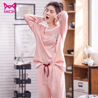 MiiOW/猫人2018新款纯棉睡衣女套装2件套头可爱印花全棉家居服