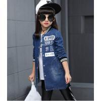 女童装休闲百搭儿童韩版时尚中大童长袖牛仔风衣外套潮户外新款