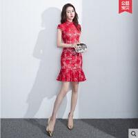 敬酒新娘服 中国风 新款时尚短款红色结婚旗袍礼服女修身