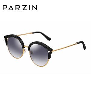 帕森2018新品摩登时尚优雅太阳镜女镂空个性板材圆框渐变墨镜9797