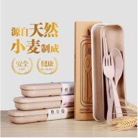 小麦纤维餐具套装叉勺筷子便携式儿童学生用旅行用餐具颜色*