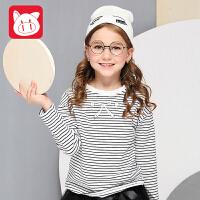 【3件5.5折】小猪班纳童装儿童长袖T恤女2018秋季款中大童休闲上衣女童打底衫
