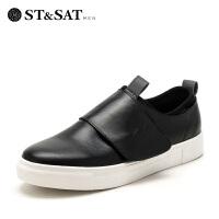 星期六男鞋(ST&SAT)牛皮革韩版平底舒男士适休闲鞋 SS73128728