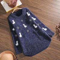 孕妇冬装套头大码毛衣孕妇秋冬款时尚宽松外穿两件套可爱上衣