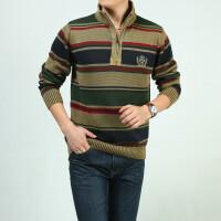 战地吉普专柜正品立领条纹毛衣 7318男士纯棉毛线衣外套时尚休闲宽松大版套头衫