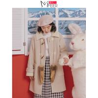 【开学季狂欢 优惠1件3折】蜜妃儿牛角扣毛呢大衣女宽松韩版中长款冬季羊羔毛过膝呢子外套潮