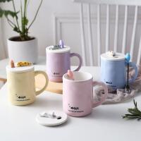 马克杯 猫咪可爱带盖勺大容量随手杯个性情侣杯牛奶咖啡陶瓷水杯子