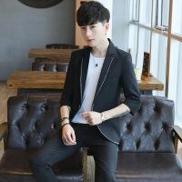 新款半袖薄款七分袖西装男青年休闲小西装修身帅气韩版西201821154
