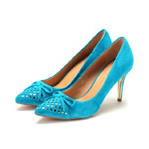 【3折到手价119.7元】St&Sat/星期六秋季款尖头浅口高跟细跟绒面羊皮女鞋SS43111028
