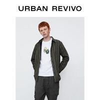UR2020冬季新品男装休闲宽松条纹翻领开襟厚款衬衫MF47S2BE2004