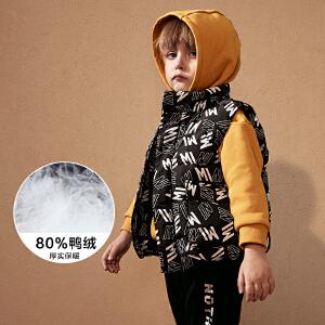 【2件3.8折】迷你巴拉巴拉男童加绒马甲冬新款童装男宝宝时尚印花保暖背心