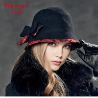 kenmont英伦小礼帽 女士帽子时尚羊毛帽冬帽 毛呢帽子2338