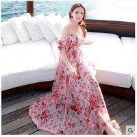 新款连衣裙荷叶边波西米亚长裙沙滩裙吊带海边性感大裙摆女装 可礼品卡支付