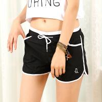 白领公社 热裤 女士运动单色时尚百搭休闲夏季新款宽松跑步短裤女式糖果色白条沙滩裤