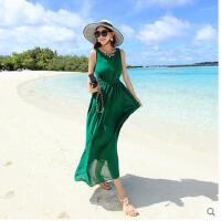 绿色沙滩裙无袖圆领夏季雪纺连衣裙女装背心长裙修身性感海边度假可礼品卡支付