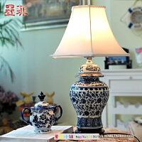 墨菲景德镇青花瓷台灯卧室床头简约现代新中式创意时尚陶瓷客厅灯具