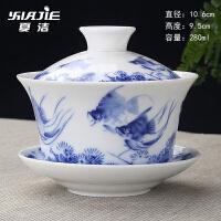 大茶碗家用青花瓷盖碗茶杯大号功夫茶具套装玉瓷