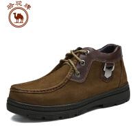 骆驼牌 AMCAMEL 秋冬新款男鞋 头层牛皮靴 保暖休闲靴系带靴子
