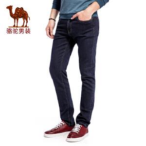 骆驼男装 秋季新款简约基础中腰休闲男士牛仔裤纯色男长裤子