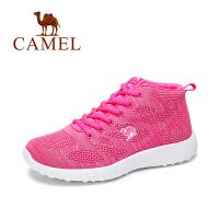 Camel 骆驼女鞋 舒适休闲 韩版百搭透气网面系带圆头运动鞋高帮鞋