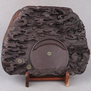 中国非物质文化遗产传承人群 钟景锐作品《鱼跃龙门》砚 宋坑