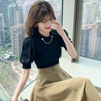 苏希莉2021夏季新款个性时尚韩版设计感小众泡泡袖短袖上衣PYNC00258
