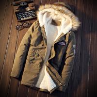棉衣男中长款大毛领连帽加绒加厚保暖冬装棉服韩版修身男士外套潮