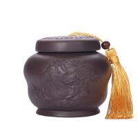 普洱紫砂茶�~罐��意夫茶道竹筒存茶罐�^音茶密封�b茶