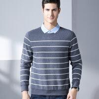 男士秋季冬季长袖POLO衫男士 假两件衬衫领T恤卫衣 秋冬新款商务休闲条纹男装