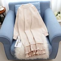 加绒加厚辣妈款外穿喂奶毛衣哺乳装外出时尚哺乳衣服秋冬季连衣裙