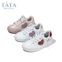 【券后价:136.9元】他她Tata童鞋专柜同款女童板鞋秋季心型小公主中大童小白鞋潮